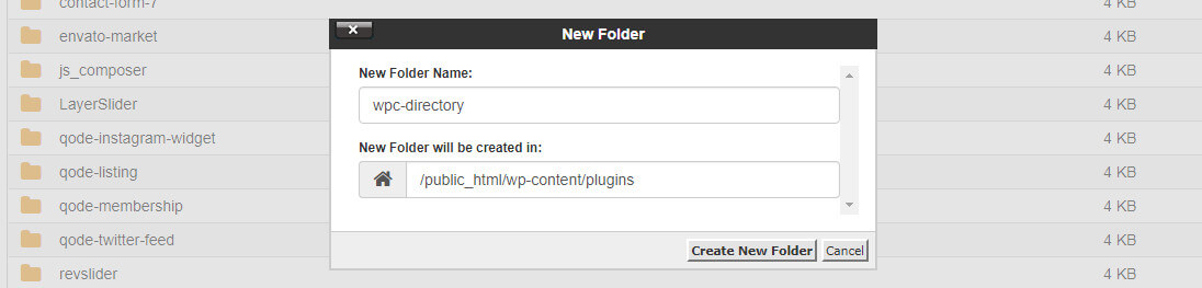 Create a new folder under /wp-content/plugins/ and call it wpc-directory