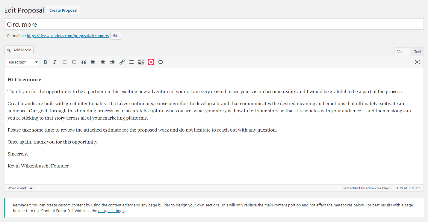 WordPress proposal plugin content editor